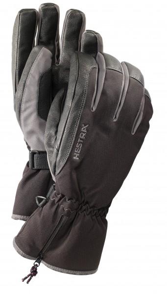 Hestra CZone Leather 5 Finger - black/ grey