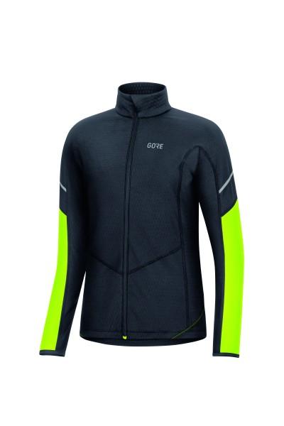 Gore M Thermo Zip Shirt Langarm Damen- Black/Neon Yellow