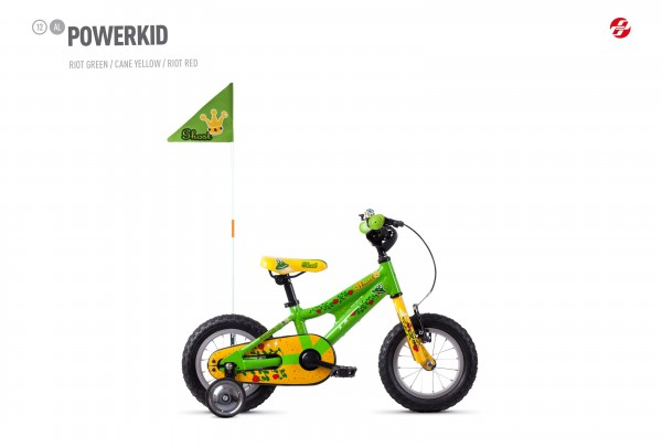 Kinderfahrrad Ghost Powerkid 12 Zoll - riot green/cane yellow/riot red